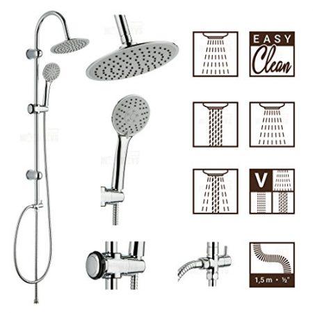 Verchrom Drenky/® Wandhalterung 25 cm duschk/öpfe Mit 50 cm langem Duscharm 150 cm Brauseschlauch und 3-Wege-Umschaltventil,Runden Rostfreier Stahl