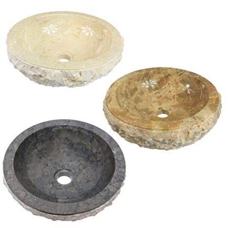 Handwaschbecken Steinwaschbecken AEVOBAS Waschbecken aus Flussstein Aufsatzwaschbecken rund oval /Ø ca Naturprodukt 30-35 cm